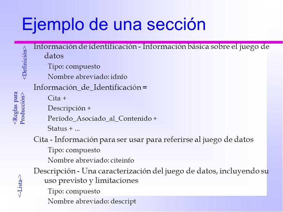 Ejemplo de una sección Información de identificación - Información básica sobre el juego de datos. Tipo: compuesto.
