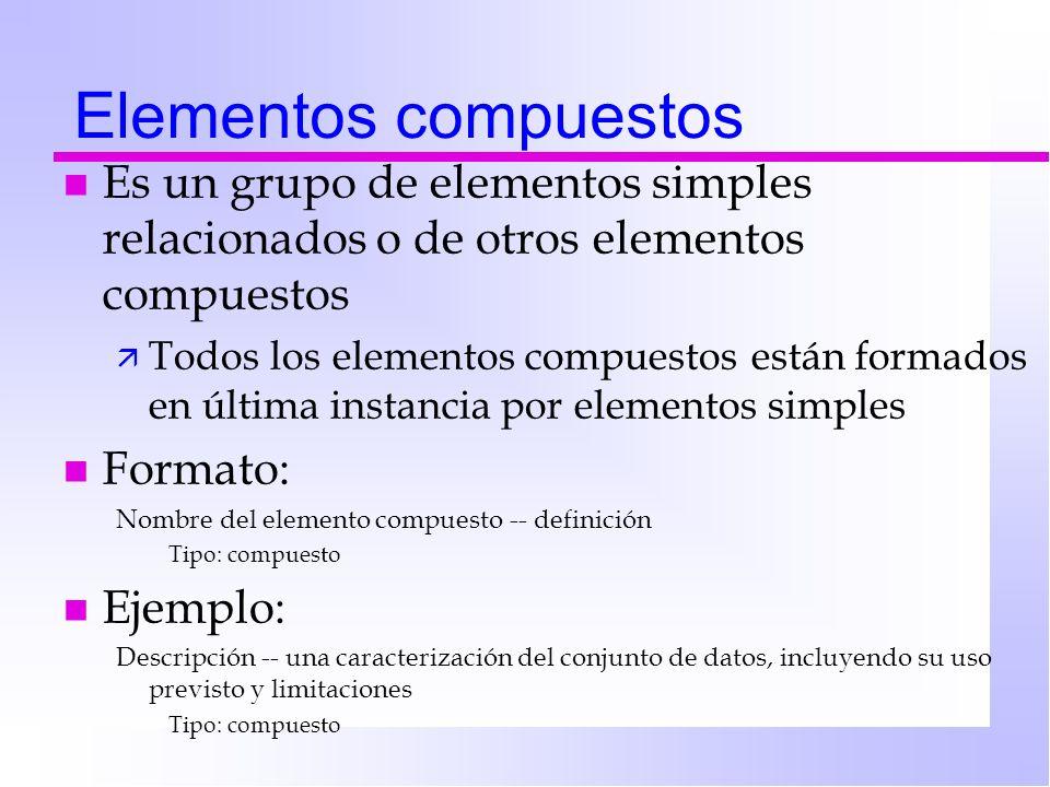 Elementos compuestos Es un grupo de elementos simples relacionados o de otros elementos compuestos.