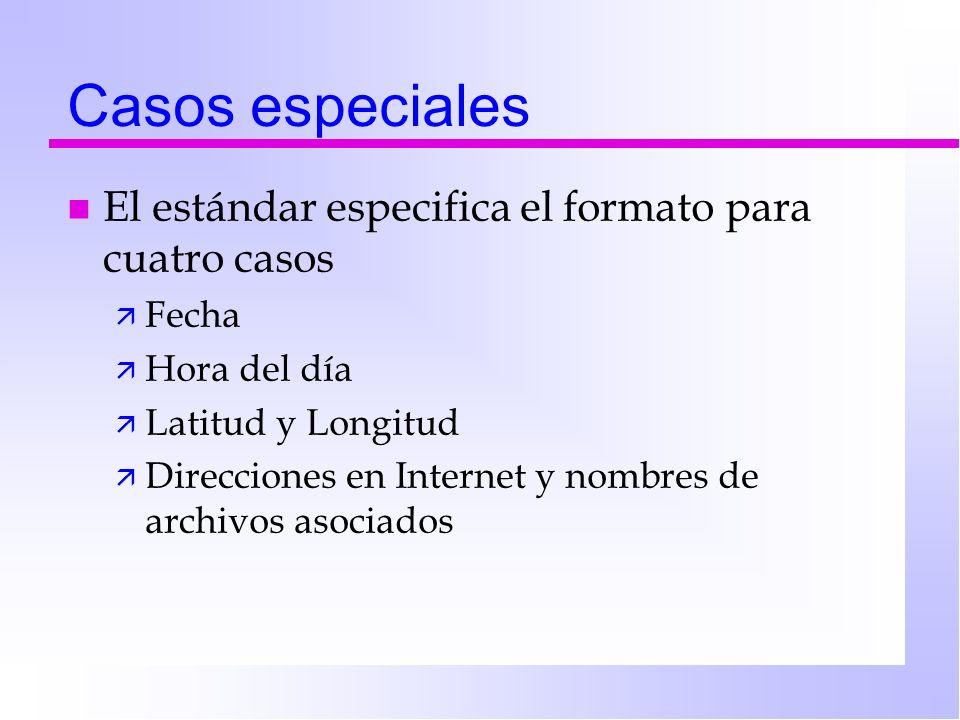 Casos especiales El estándar especifica el formato para cuatro casos