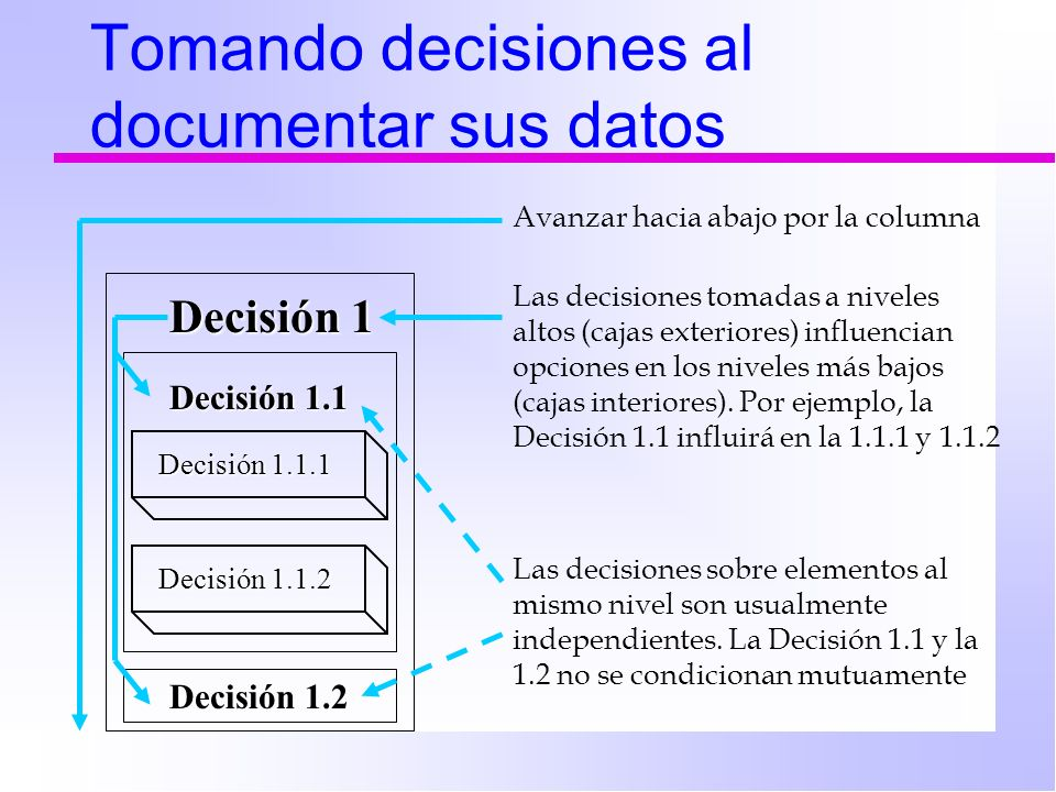 Tomando decisiones al documentar sus datos