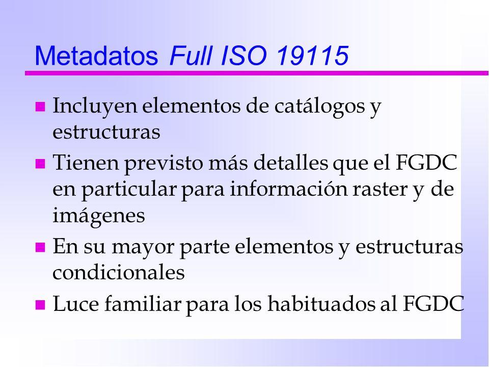 Metadatos Full ISO 19115 Incluyen elementos de catálogos y estructuras