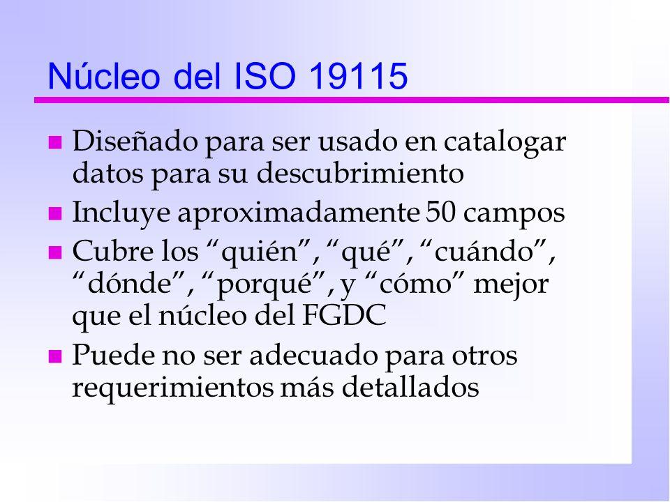 Núcleo del ISO 19115 Diseñado para ser usado en catalogar datos para su descubrimiento. Incluye aproximadamente 50 campos.