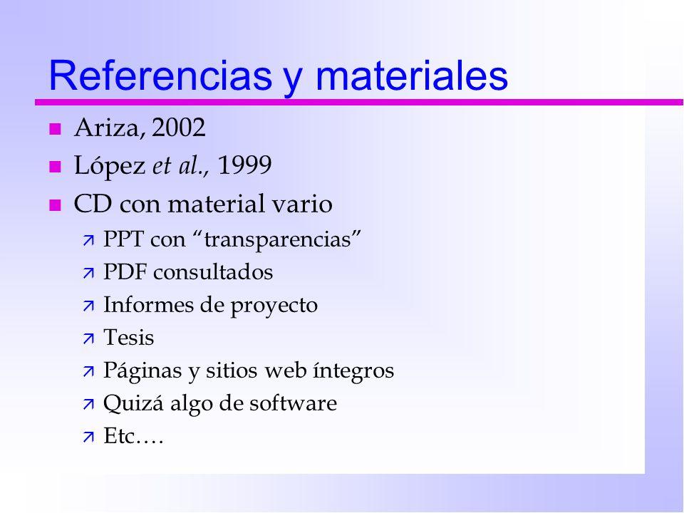 Referencias y materiales