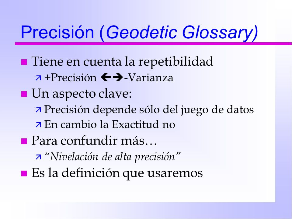 Precisión (Geodetic Glossary)