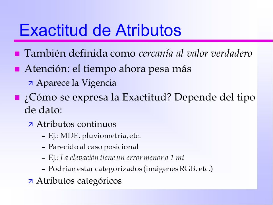 Exactitud de Atributos