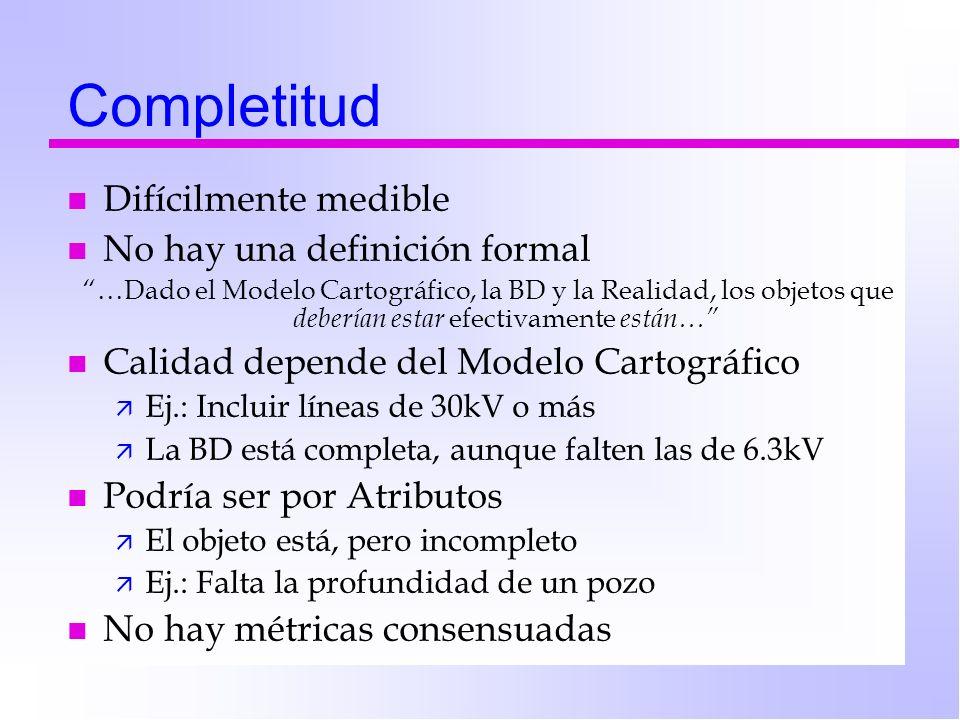 Completitud Difícilmente medible No hay una definición formal