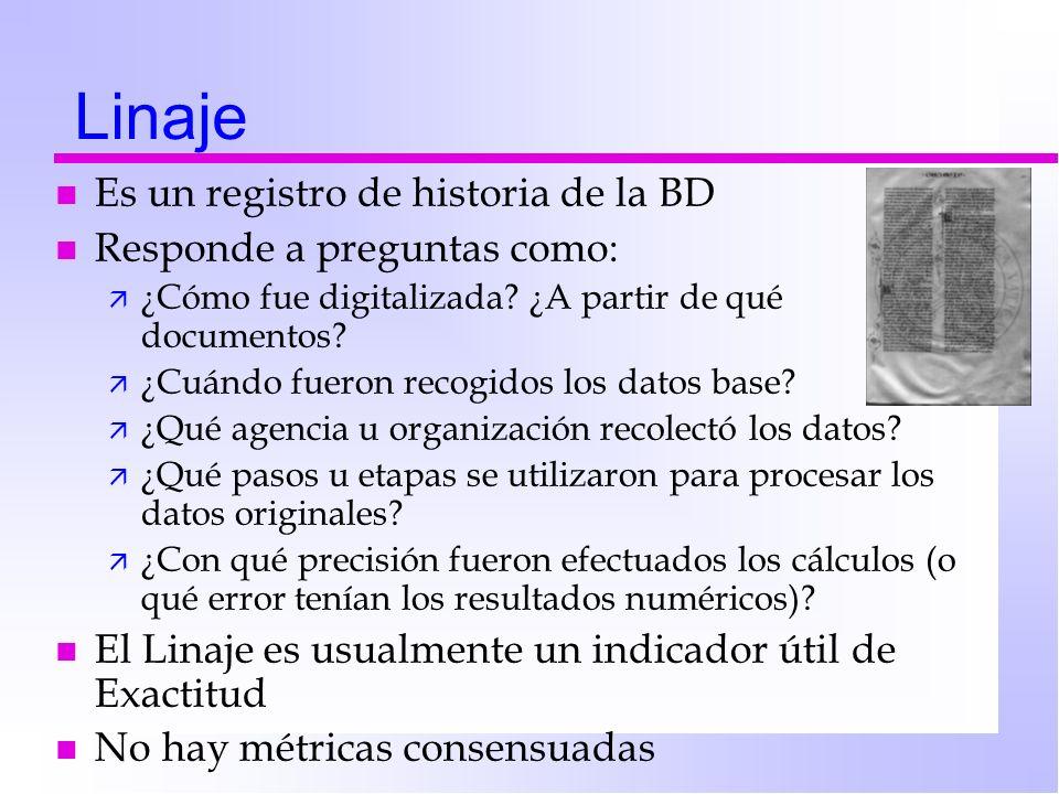 Linaje Es un registro de historia de la BD Responde a preguntas como: