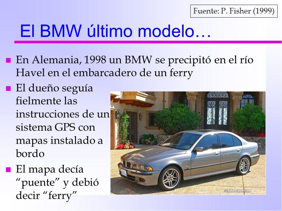 Fuente: P. Fisher (1999) El BMW último modelo… En Alemania, 1998 un BMW se precipitó en el río Havel en el embarcadero de un ferry.