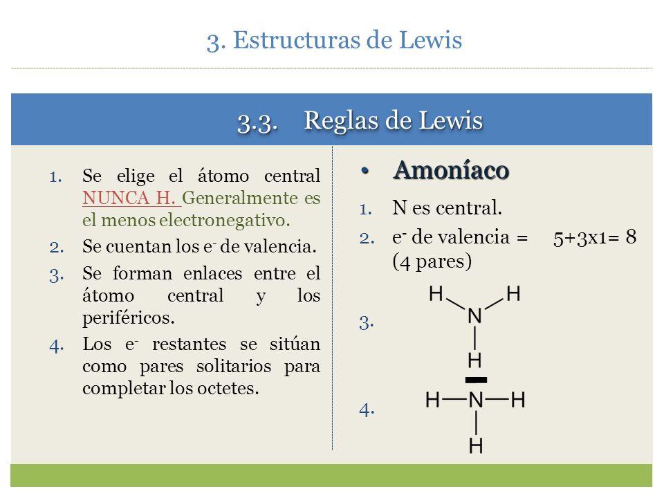 3.3. Reglas de Lewis Amoníaco 3. Estructuras de Lewis N es central.