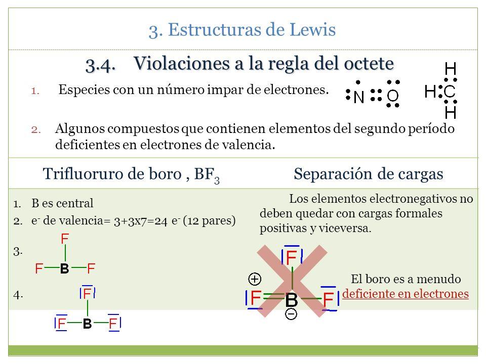 3.4. Violaciones a la regla del octete