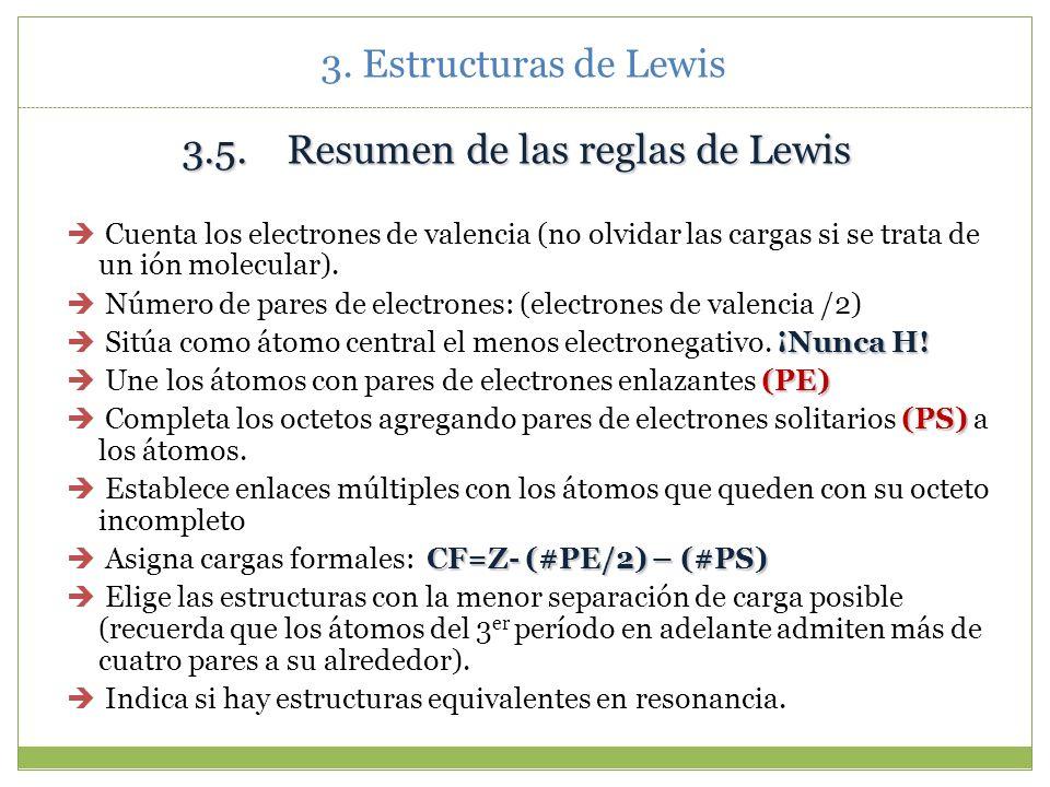 3.5. Resumen de las reglas de Lewis