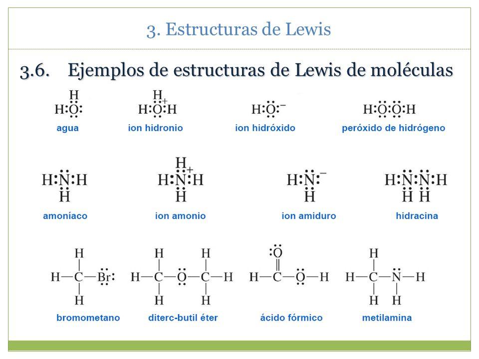 3.6. Ejemplos de estructuras de Lewis de moléculas
