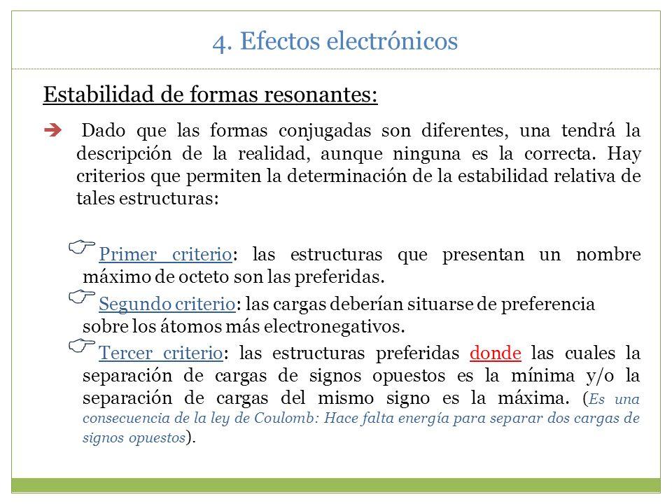 4. Efectos electrónicos Estabilidad de formas resonantes: