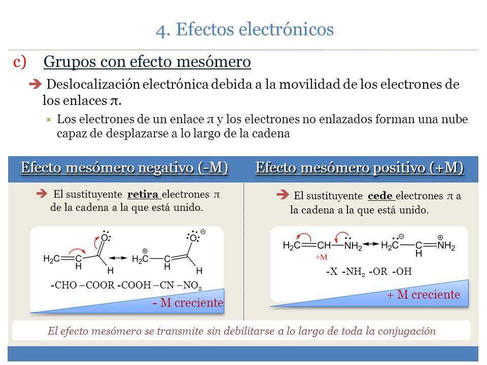 4. Efectos electrónicos c) Grupos con efecto mesómero
