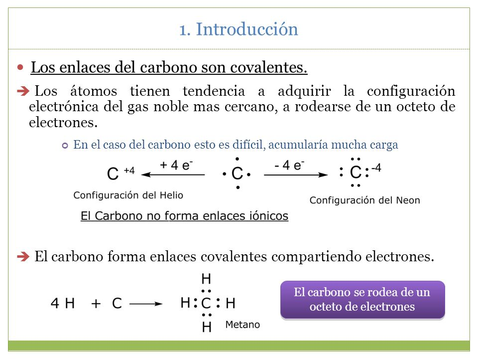 El carbono se rodea de un octeto de electrones