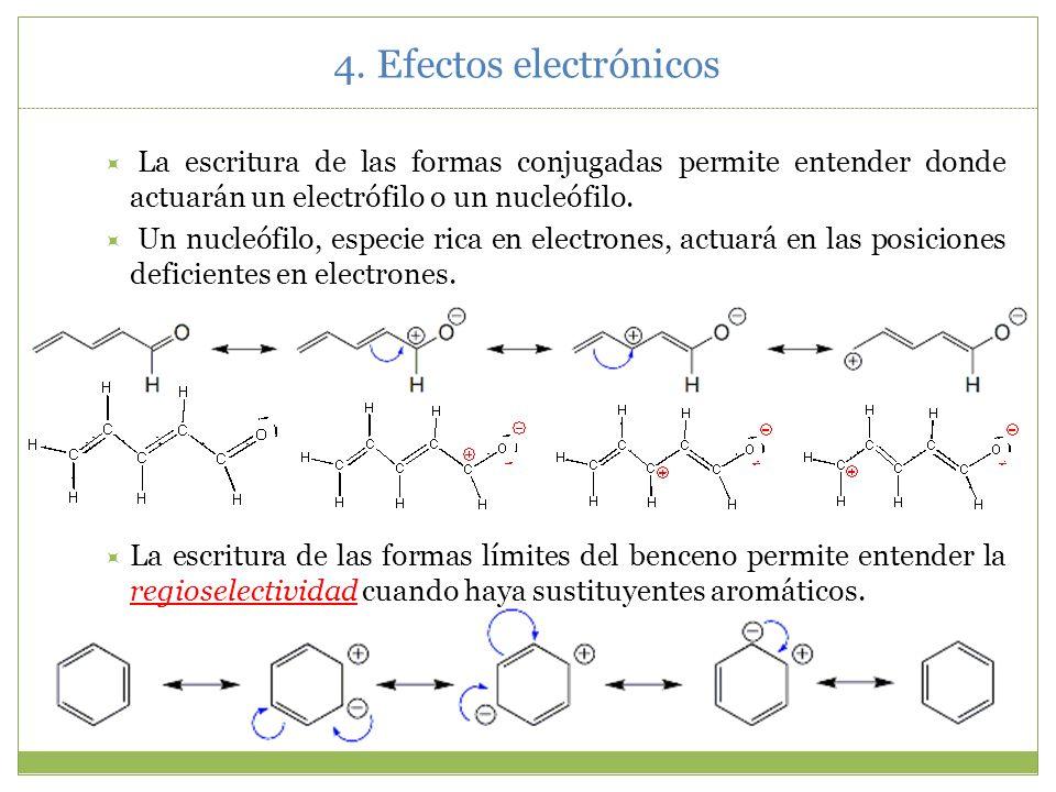 4. Efectos electrónicosLa escritura de las formas conjugadas permite entender donde actuarán un electrófilo o un nucleófilo.