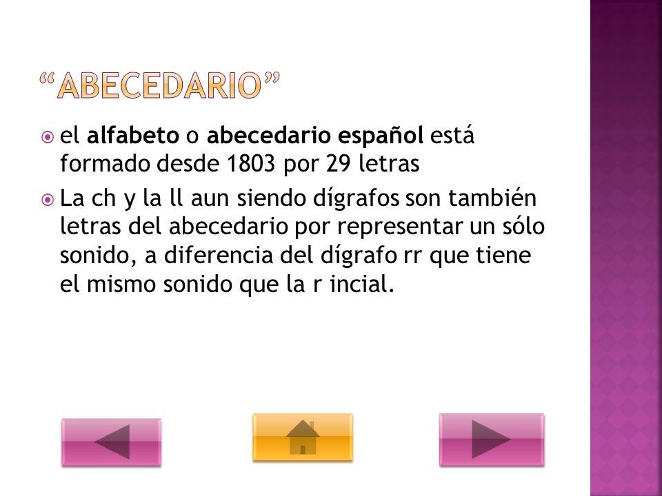 ABECEDARIO el alfabeto o abecedario español está formado desde 1803 por 29 letras.