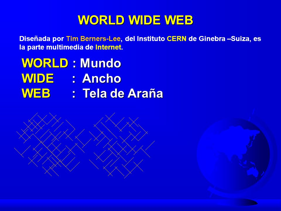 WORLD WIDE WEB WORLD : Mundo WIDE : Ancho WEB : Tela de Araña