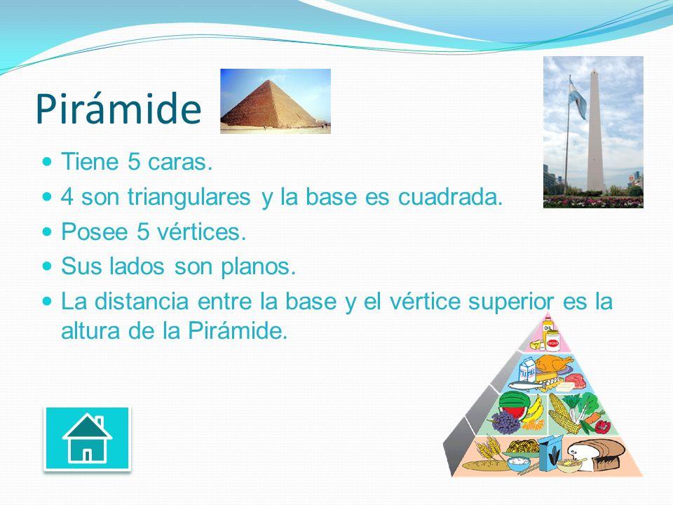 Pirámide Tiene 5 caras. 4 son triangulares y la base es cuadrada.
