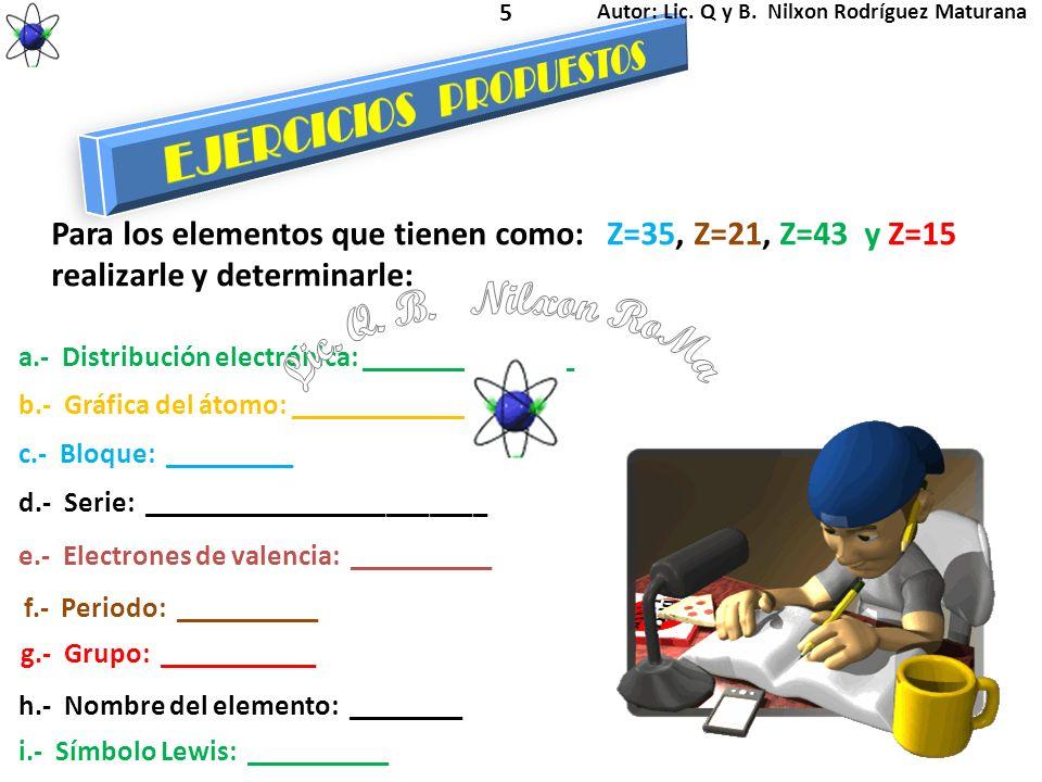 Lic. Q. B. Nilxon RoMa EJERCICIOS PROPUESTOS