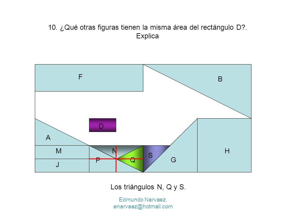 10. ¿Qué otras figuras tienen la misma área del rectángulo D . Explica