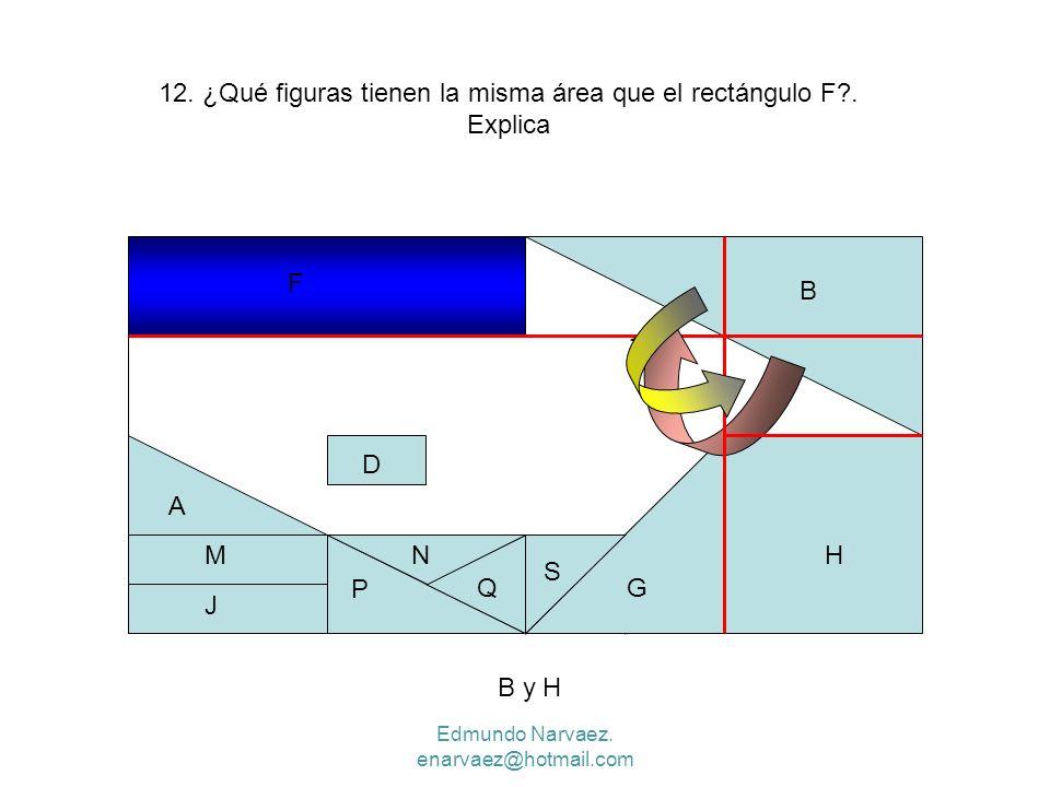 12. ¿Qué figuras tienen la misma área que el rectángulo F . Explica
