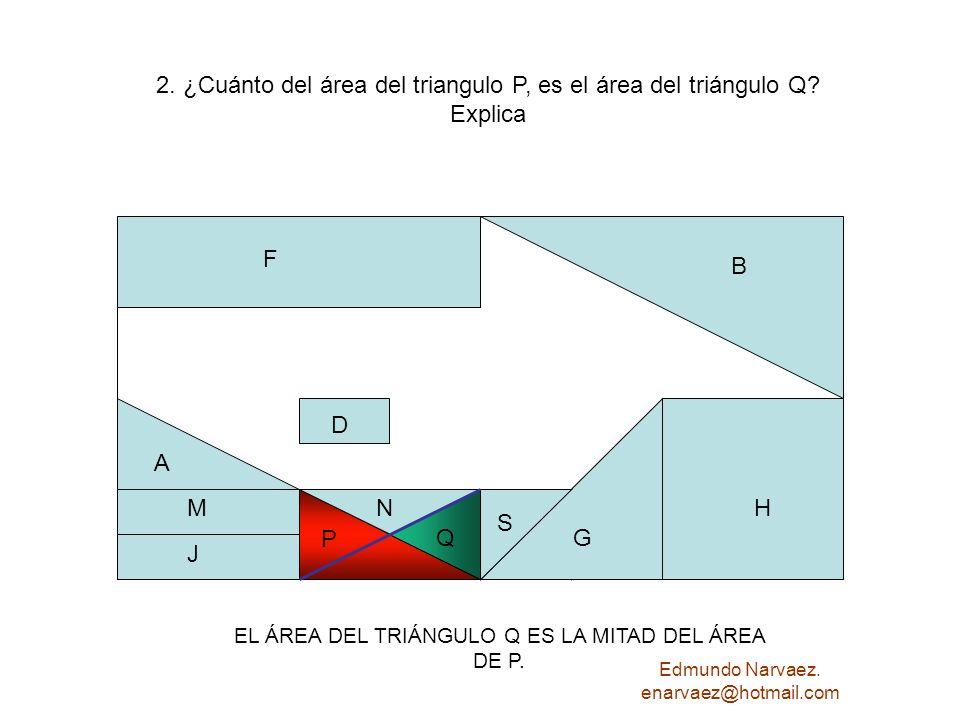 2. ¿Cuánto del área del triangulo P, es el área del triángulo Q