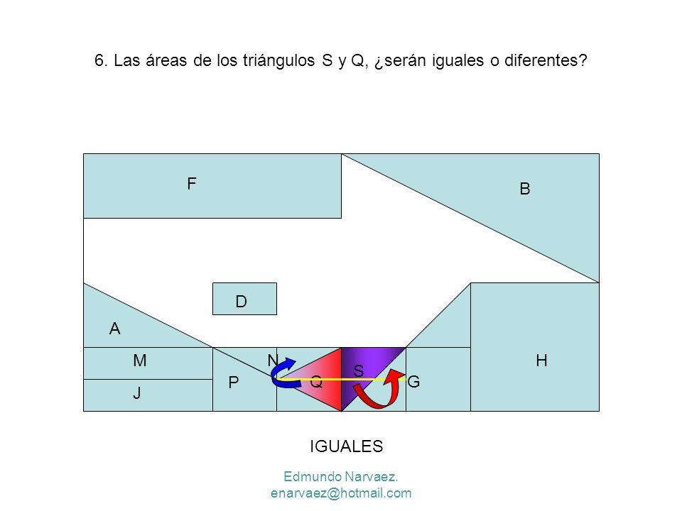 6. Las áreas de los triángulos S y Q, ¿serán iguales o diferentes