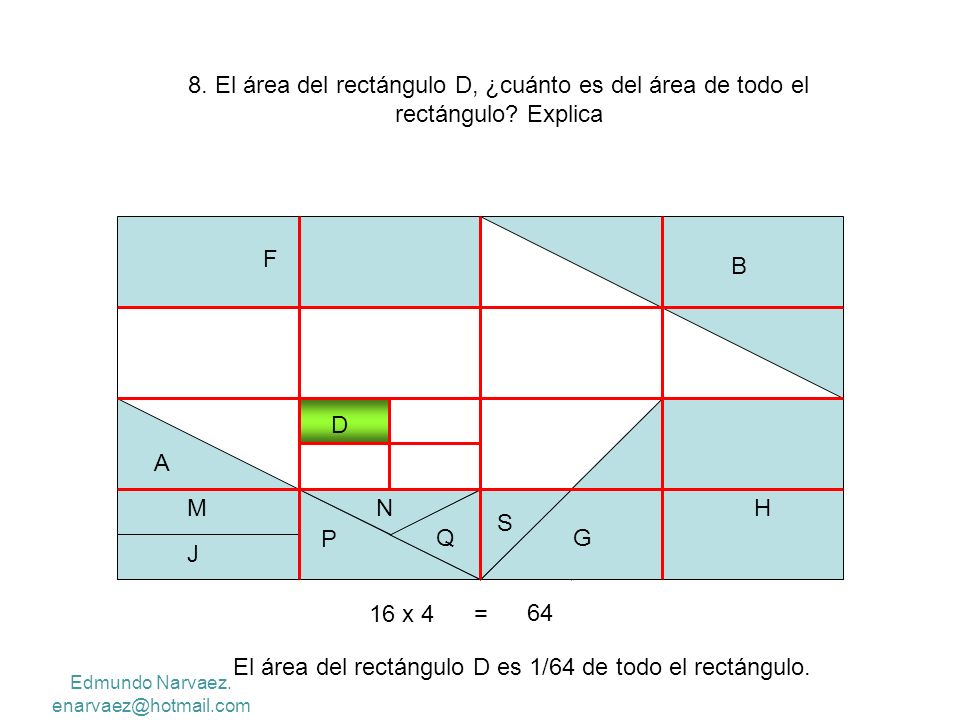 El área del rectángulo D es 1/64 de todo el rectángulo.