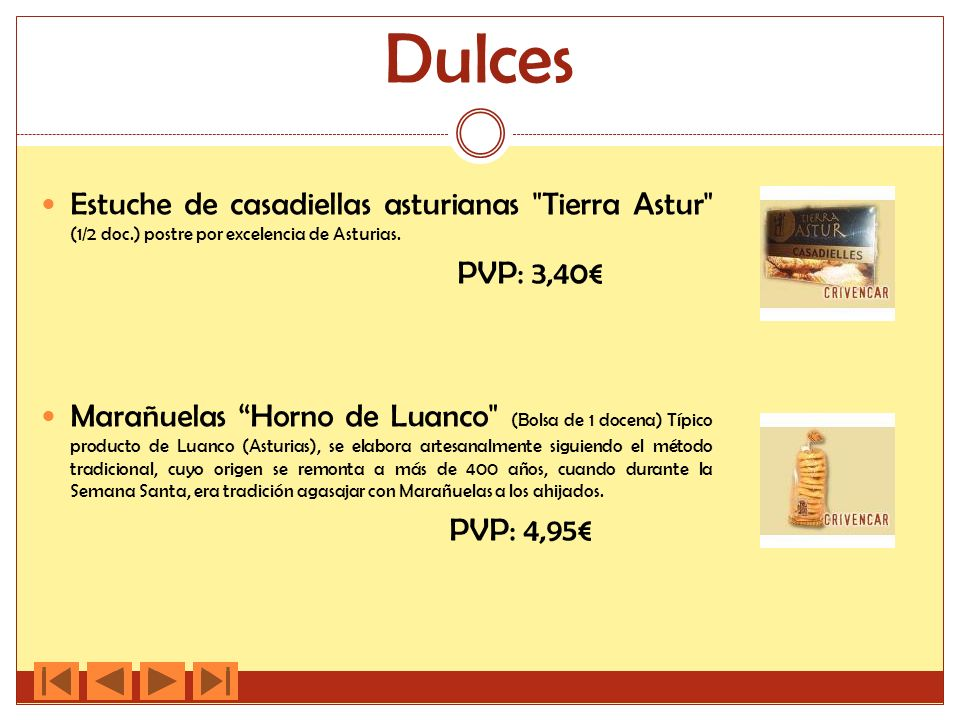 Dulces Estuche de casadiellas asturianas Tierra Astur (1/2 doc.) postre por excelencia de Asturias.