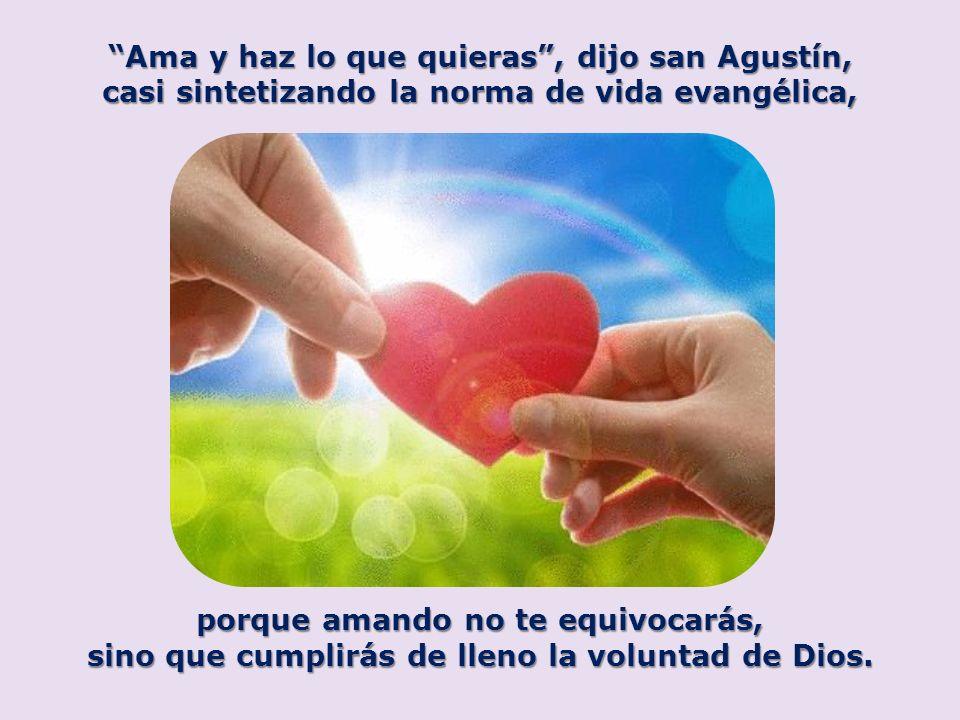 Ama y haz lo que quieras , dijo san Agustín,