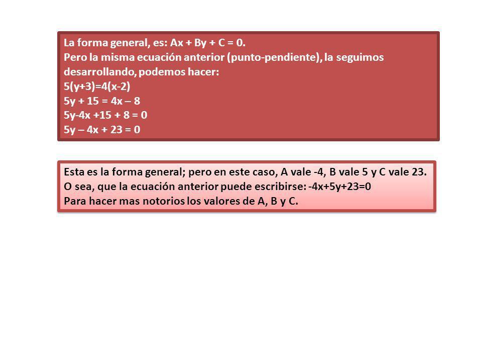 La forma general, es: Ax + By + C = 0.
