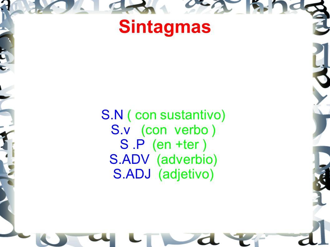 Sintagmas S.N ( con sustantivo) S.v (con verbo ) S .P (en +ter )