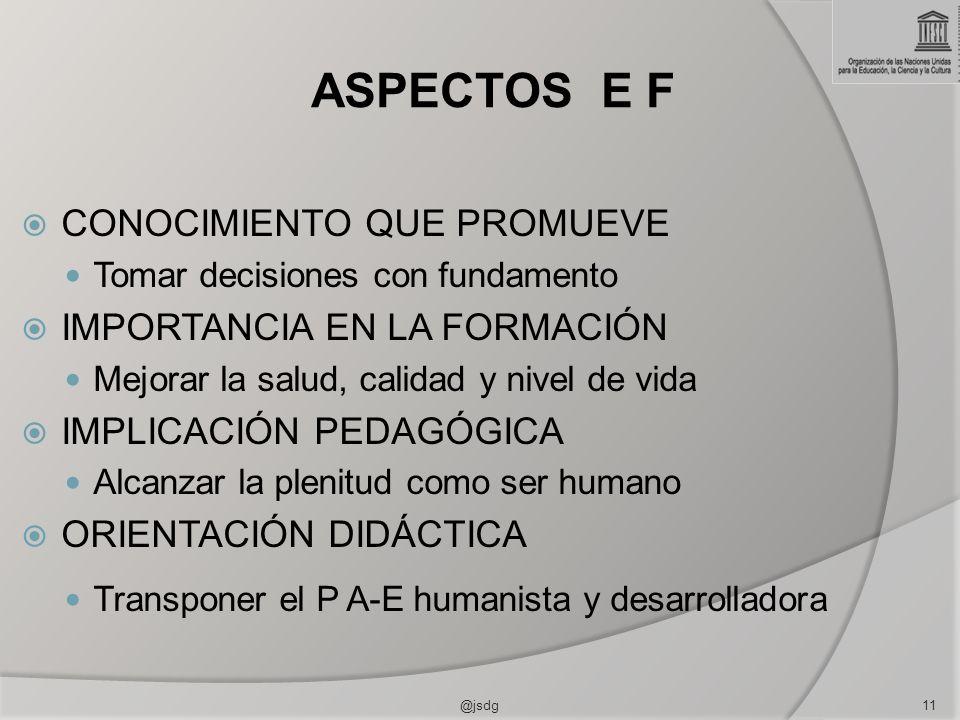 ASPECTOS E F CONOCIMIENTO QUE PROMUEVE IMPORTANCIA EN LA FORMACIÓN