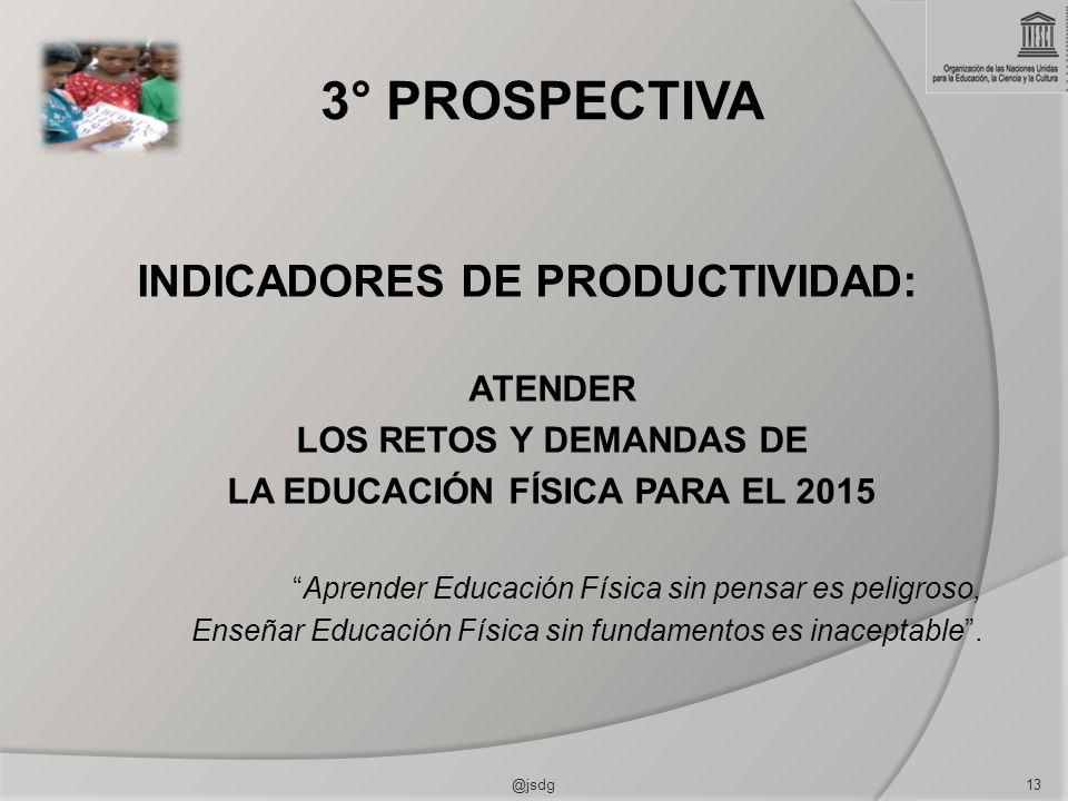 INDICADORES DE PRODUCTIVIDAD: LA EDUCACIÓN FÍSICA PARA EL 2015