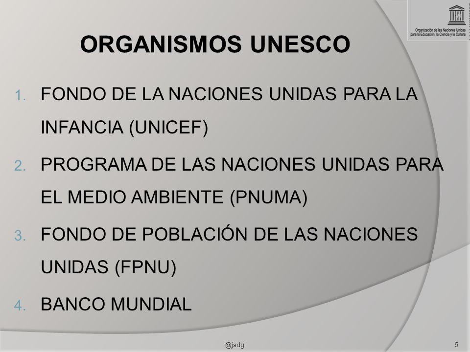ORGANISMOS UNESCO FONDO DE LA NACIONES UNIDAS PARA LA INFANCIA (UNICEF) PROGRAMA DE LAS NACIONES UNIDAS PARA EL MEDIO AMBIENTE (PNUMA)