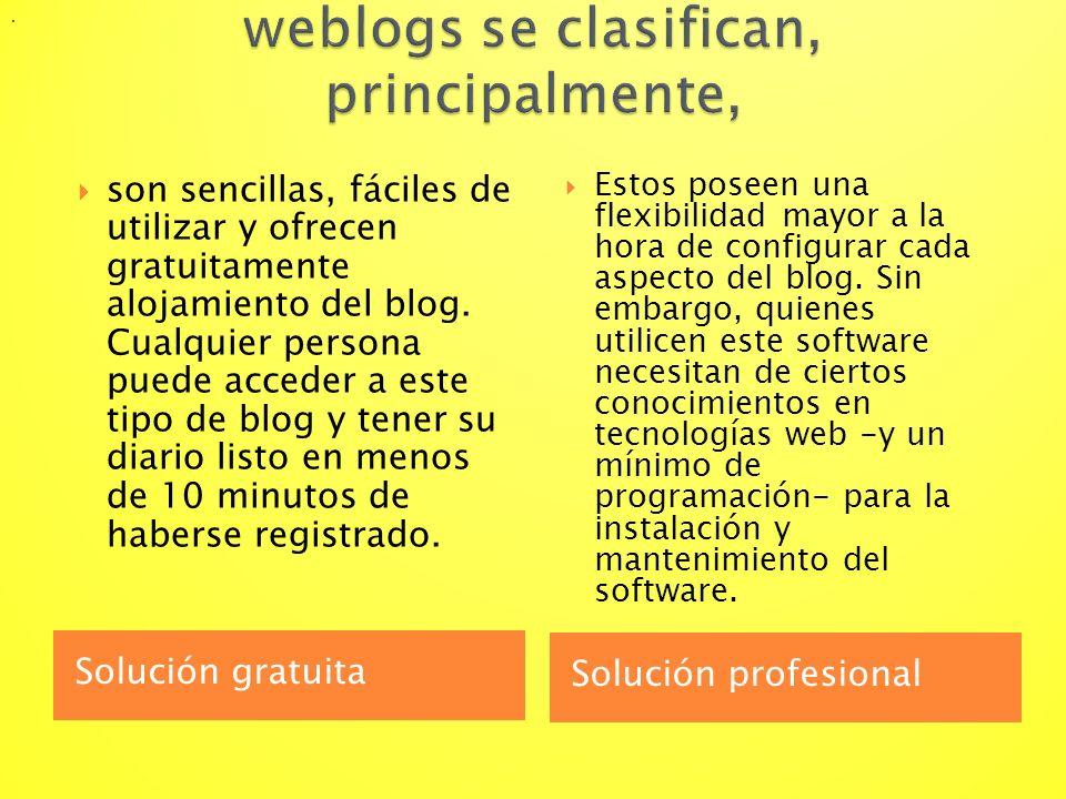weblogs se clasifican, principalmente,