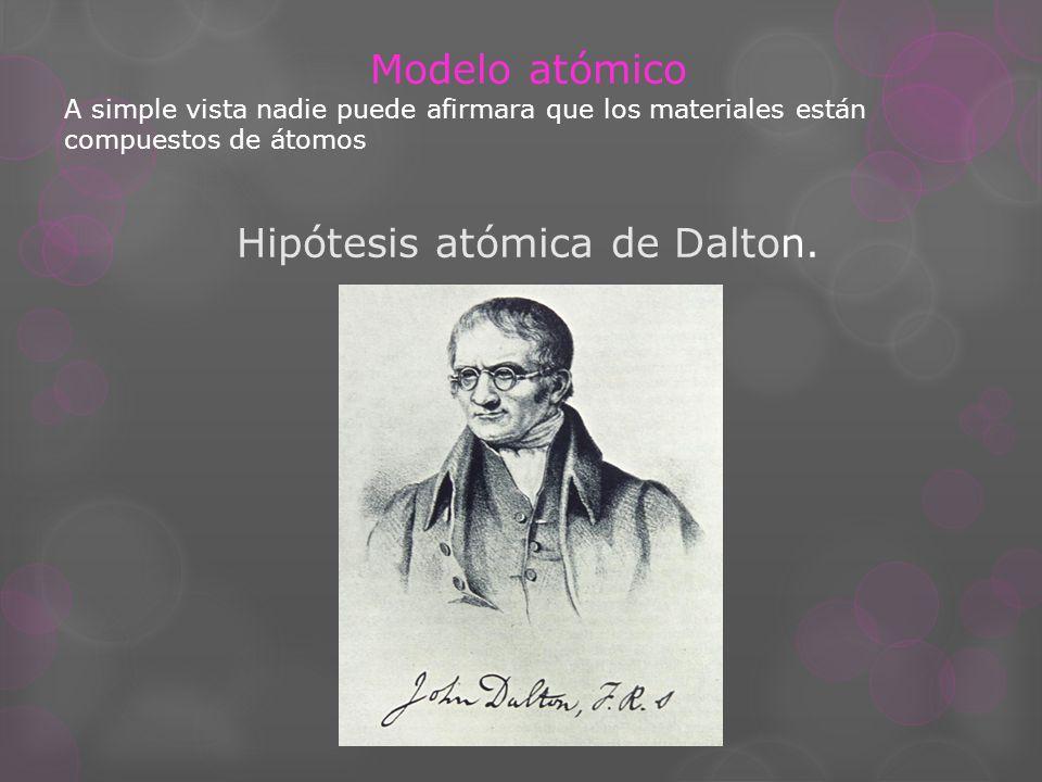 Hipótesis atómica de Dalton.