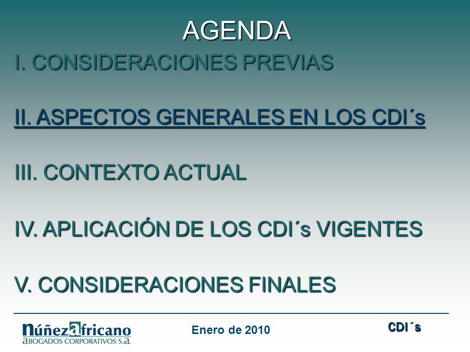 AGENDA I. CONSIDERACIONES PREVIAS II. ASPECTOS GENERALES EN LOS CDI´s