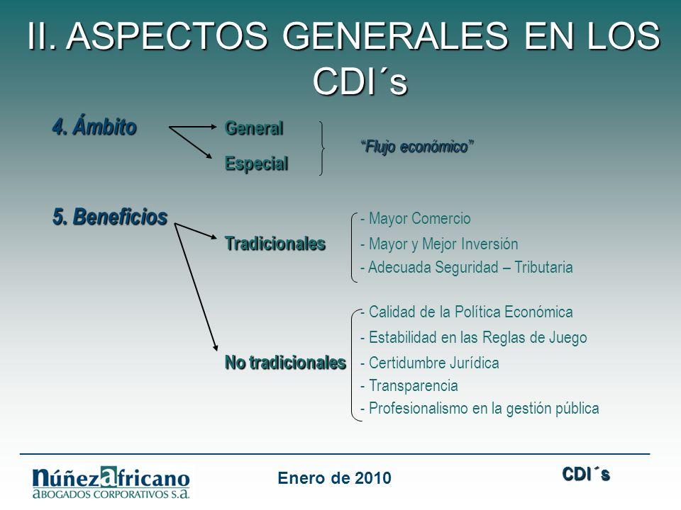 II. ASPECTOS GENERALES EN LOS CDI´s