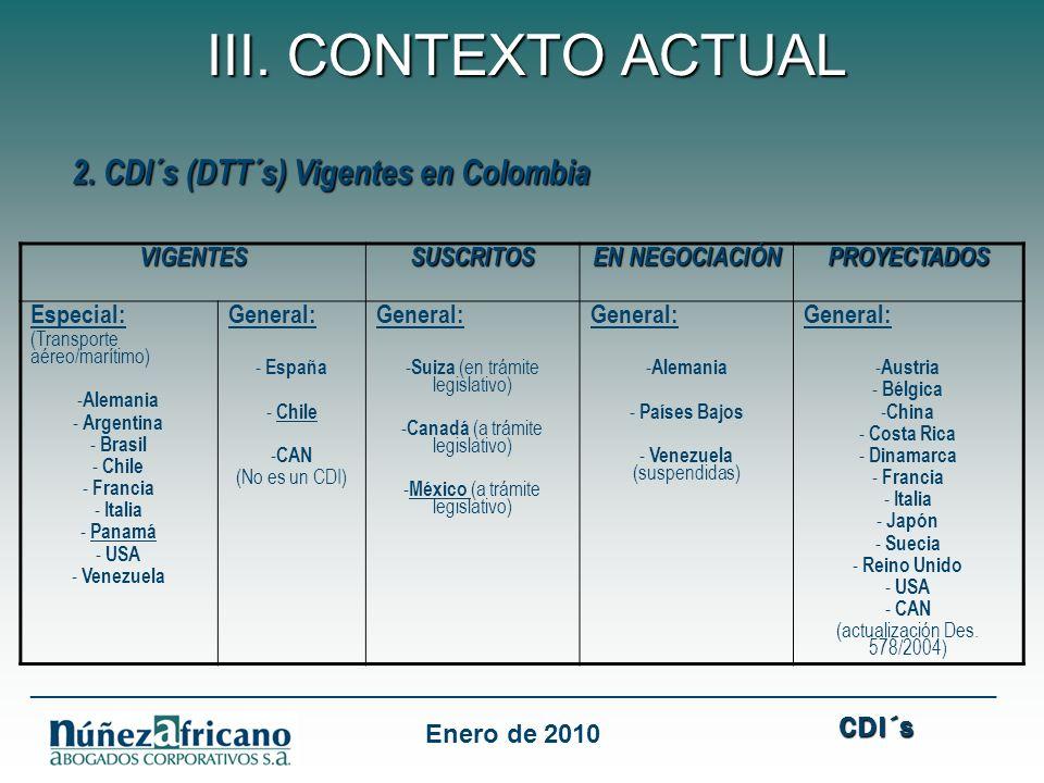 III. CONTEXTO ACTUAL 2. CDI´s (DTT´s) Vigentes en Colombia CDI´s