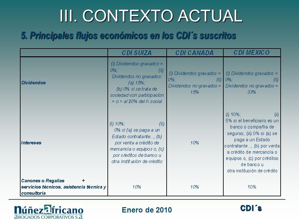 III. CONTEXTO ACTUAL 5. Principales flujos económicos en los CDI´s suscritos. CDI´s.
