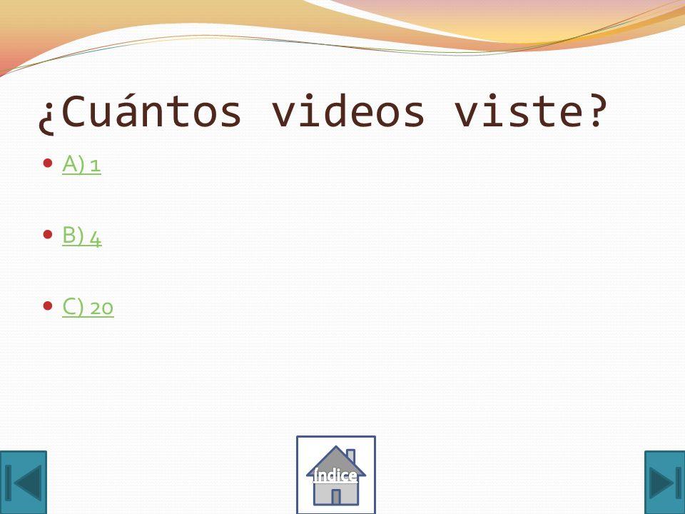 ¿Cuántos videos viste A) 1 B) 4 C) 20 índice