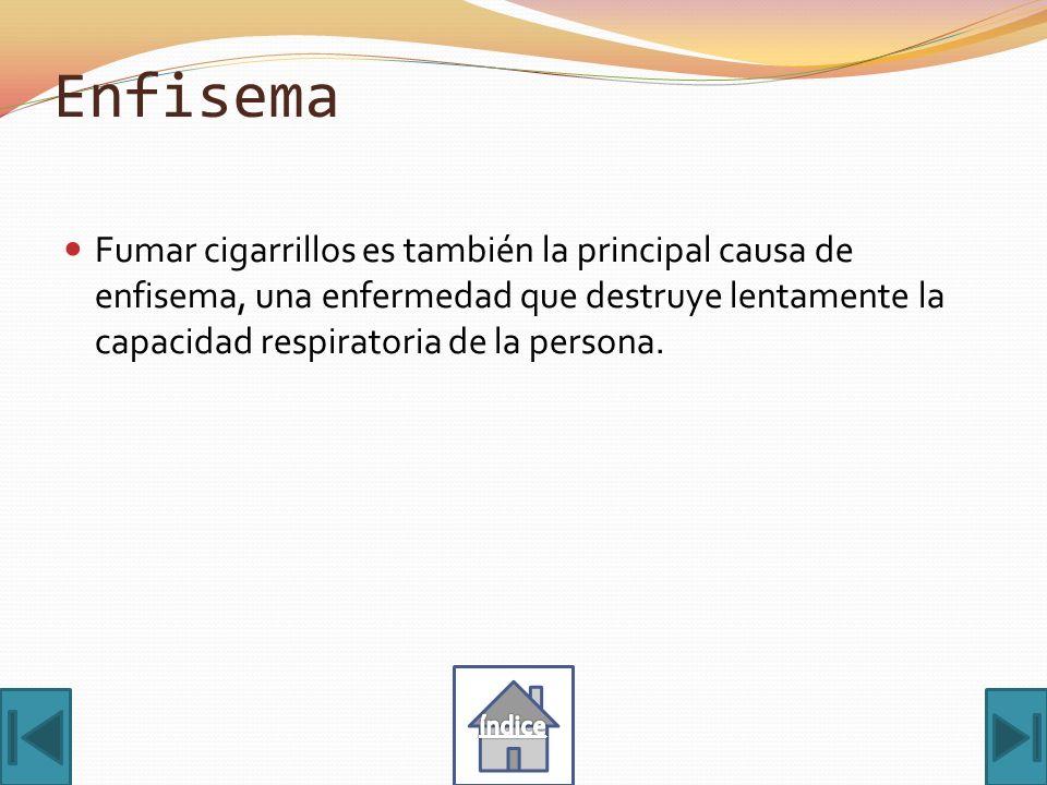 Enfisema Fumar cigarrillos es también la principal causa de enfisema, una enfermedad que destruye lentamente la capacidad respiratoria de la persona.