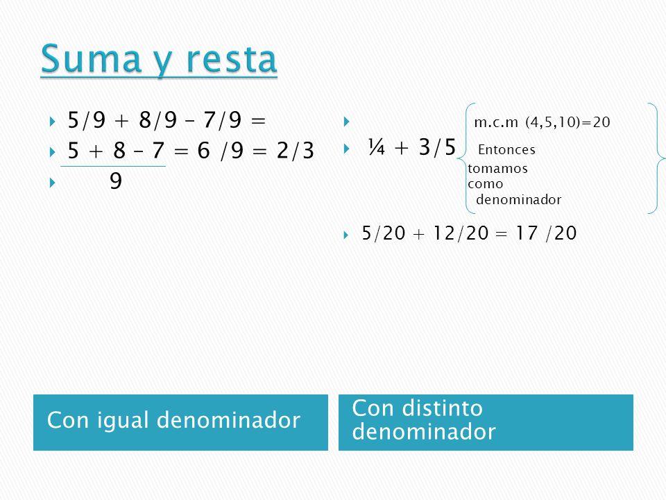 Suma y resta 5/9 + 8/9 – 7/9 = 5 + 8 – 7 = 6 /9 = 2/3 9