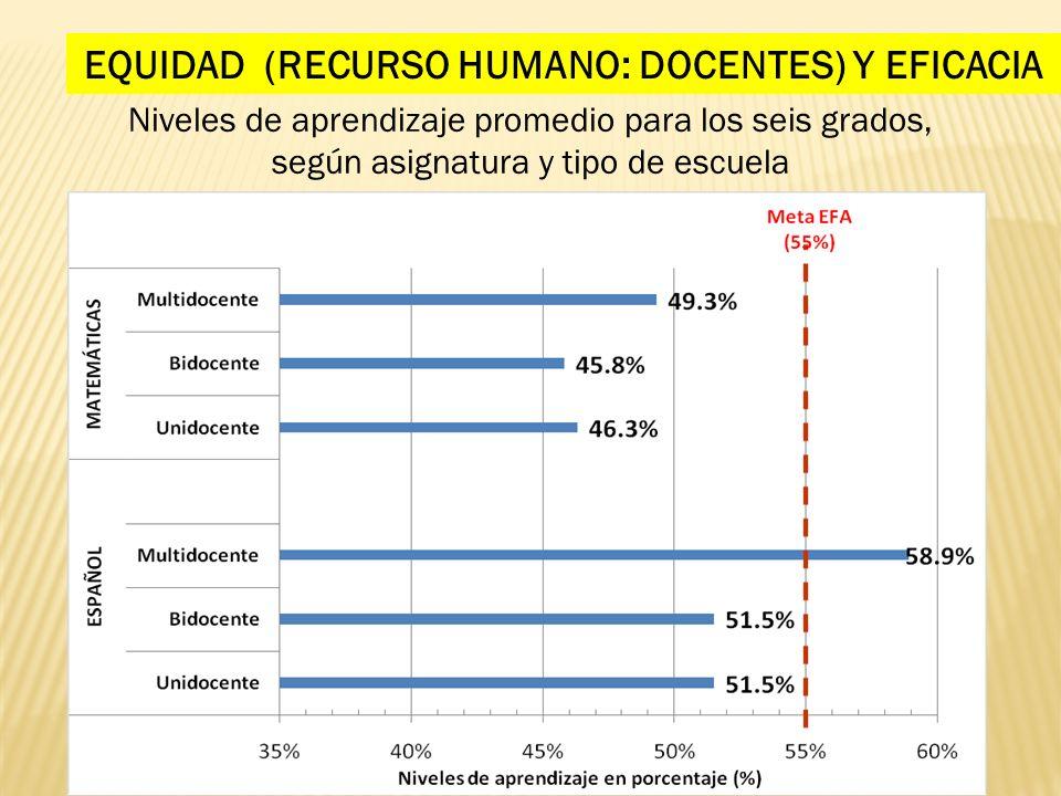 EQUIDAD (RECURSO HUMANO: DOCENTES) Y EFICACIA