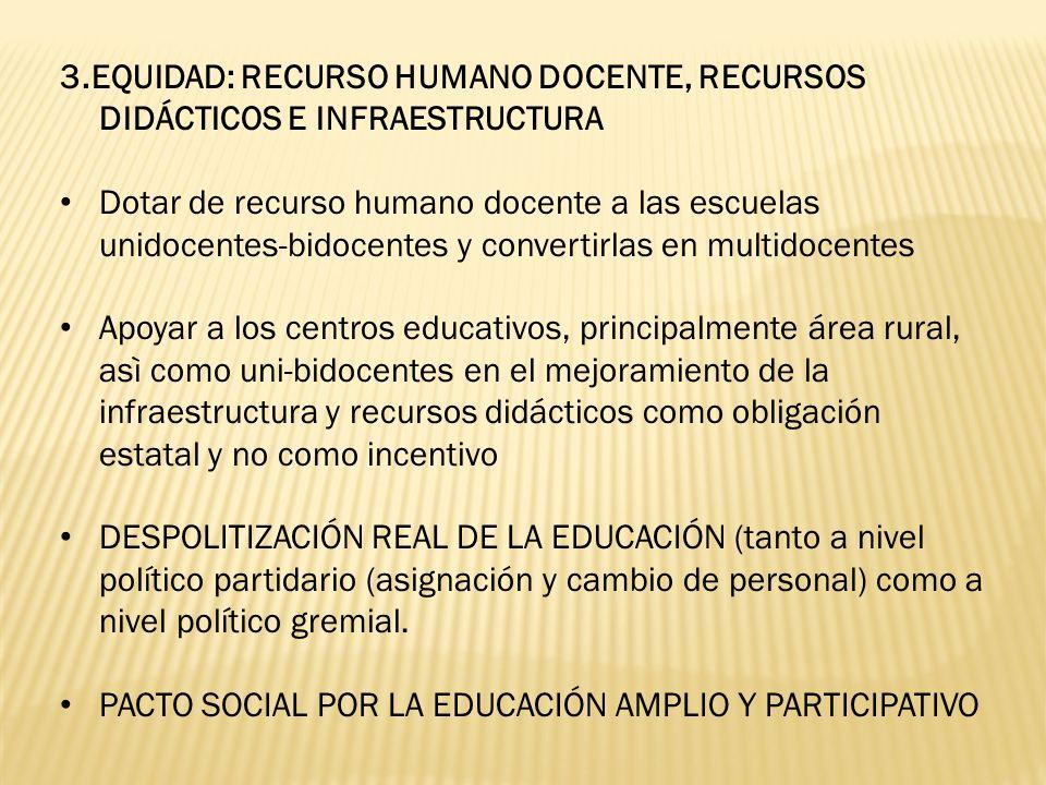 3.EQUIDAD: RECURSO HUMANO DOCENTE, RECURSOS DIDÁCTICOS E INFRAESTRUCTURA