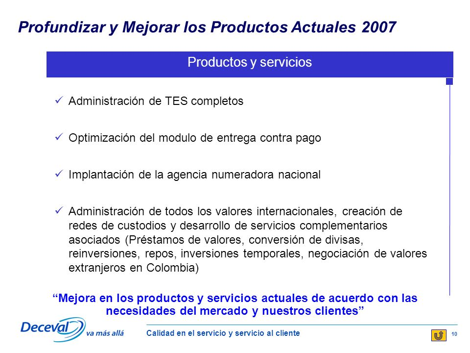 Profundizar y Mejorar los Productos Actuales 2007