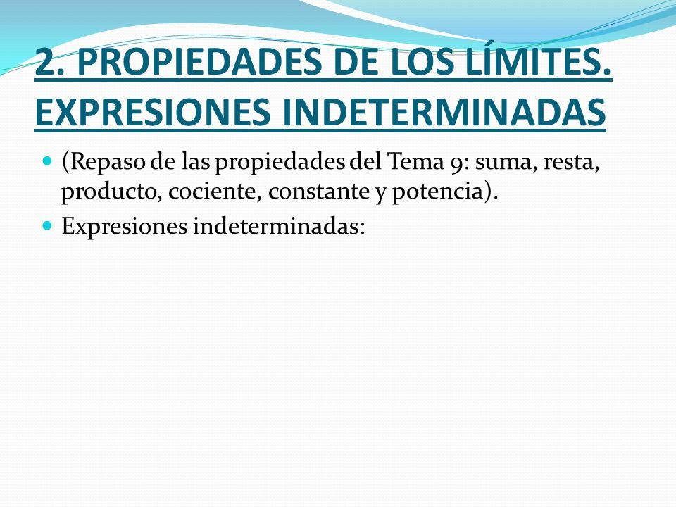 2. PROPIEDADES DE LOS LÍMITES. EXPRESIONES INDETERMINADAS
