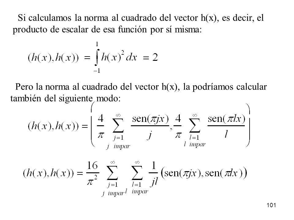 Si calculamos la norma al cuadrado del vector h(x), es decir, el